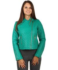 YooY Moderní koženková prošívaná bunda s asymetrickým zipem zelená