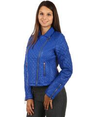 YooY Moderní koženková prošívaná bunda s asymetrickým zipem modrá