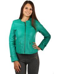 YooY Luxusní koženková prošívaná bunda na zip zelená