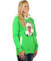 YooY Dámská mikina s roztomilým obrázkem a s kapucí zelená
