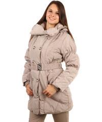 YooY Krásná dlouhá bunda pro plnoštíhlé béžová