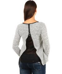 YooY Krásný svetřík/mikina s vykrojenými zády bílá