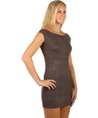 Glara Dámské večerní pletené mini šaty na zip 993cf1bbc9