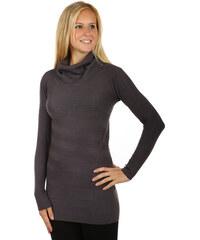 YooY Moderní svetr / šaty s rolákem tmavě šedá