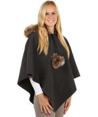 YooY Moderní pončo s kapucí a s kožíškem šedá