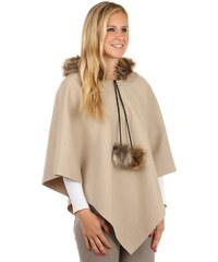 YooY Moderní pončo s kapucí a s kožíškem béžová