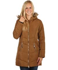 YooY Příjemná a stylově zdobená bunda delšího střihu hnědá