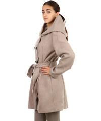 YooY Úžasný delší kabátek s neobvyklou kapucí béžová