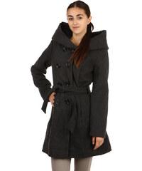 YooY Úžasný delší kabátek s neobvyklou kapucí šedá
