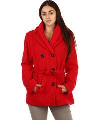 YooY Moderní kabátek s dvojím límcem červená