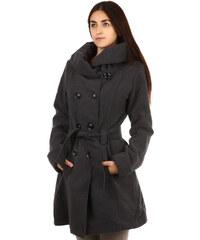 YooY Stylový delší kabát s výrazným límcem tmavě šedá