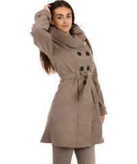 YooY Stylový delší kabát s výrazným límcem béžová