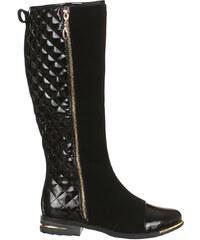 YooY Luxusní kozačky v kombinaci matného a lesklého materiálu černá