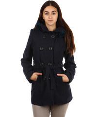 YooY Moderní kabátek s kapucí a kožešinou. modrá