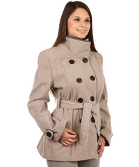 YooY Zajímavý kabát s kontrastním lemováním a s moderním límcem hnědá