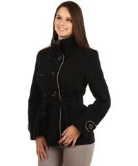 YooY Zajímavý kabát s kontrastním lemováním a s moderním límcem černá