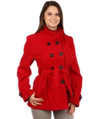 YooY Zajímavý kabát s kontrastním lemováním a s moderním límcem červená