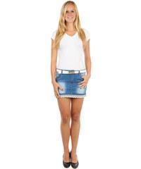 YooY Moderní sukně s krajkou, páskem a kapsami modrá