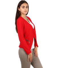 YooY Krásné sako bez zapínání červená