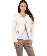YooY Krásné sako bez zapínání bílá