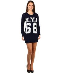 YooY Moderní tričko/šaty s výrazným nápisem modrá