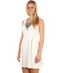 Glara Krátké dámské áčkové šaty s aplikací 973056ab2d