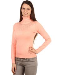 YooY Elegantní svetr s rolákem a kamínky lososová