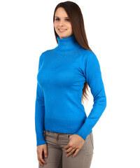YooY Elegantní svetr s rolákem a kamínky modrá