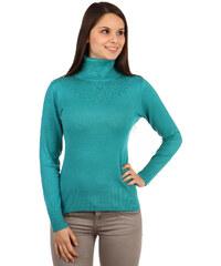YooY Elegantní svetr s rolákem a kamínky zelená