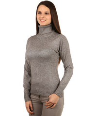YooY Elegantní svetr s rolákem a kamínky šedá