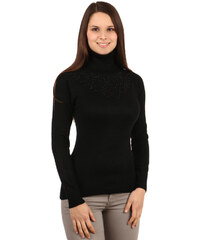 YooY Elegantní svetr s rolákem a kamínky černá