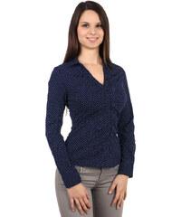 YooY Jemně puntíkovaná košile s dlouhým rukávem modrá