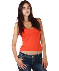 YooY Tílko s krajkou na úzká ramínka oranžová
