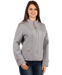 YooY Moderní prošívaná bunda na zip šedá
