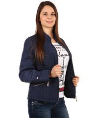 YooY Moderní prošívaná bunda na zip modrá