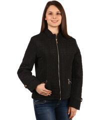 YooY Moderní prošívaná bunda na zip černá