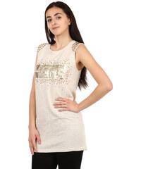 YooY Moderní tričko s nápisem a kamínky béžová