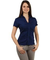 YooY Krásná košile na knoflíky s krátkým rukávem tmavě modrá