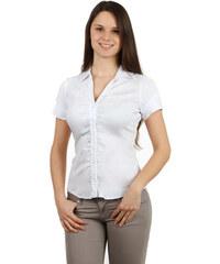 YooY Krásná košile na knoflíky s krátkým rukávem bílá