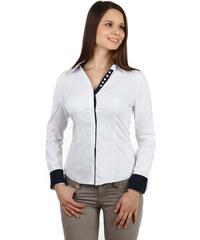 YooY Úžasná košile na knoflíky s kontrastními prvky bílá