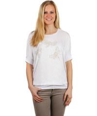 YooY Volné dámské tričko s vážkami bílá