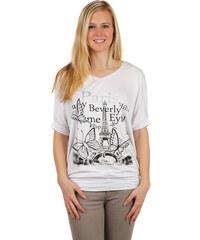 YooY Dámské volné tričko netopýří rukáv bílá