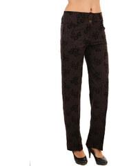 YooY Elegantní dámské kalhoty se vzorem hnědá