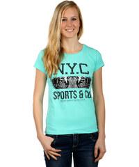 YooY Pohodlné tričko s nápisy tyrkysová