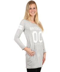 YooY Sportovní dlouhé tričko/šaty s kapsami na boku světle šedá