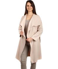 YooY Dlouhý kabát - kardigan s páskem béžová