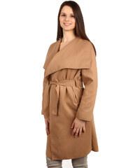YooY Dlouhý kabát - kardigan s páskem světle hnědá