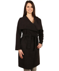 YooY Dlouhý kabát - kardigan s páskem černá