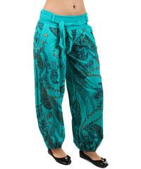 YooY Pohodlné volné kalhoty se vzorem tyrkysová