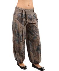 YooY Pohodlné volné kalhoty se vzorem hnědá